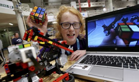 Katie and her Rubik's Cube robot a winner at Coolest Projects